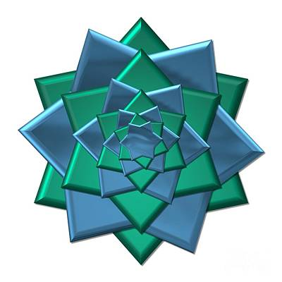 Digital Art - Metallic Blue And Green 3-d Look Gift Bow by Rose Santuci-Sofranko