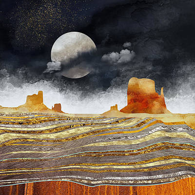 Landscape Digital Art - Metallic Desert by Spacefrog Designs
