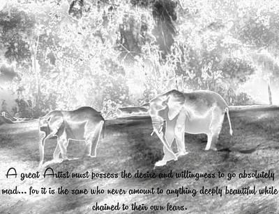 Animal Photograph - Metallic Elephant Philosophers by Abstract Angel Artist Stephen K