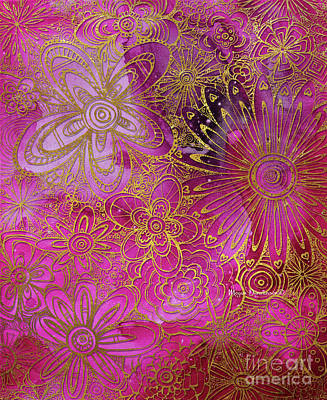 Metallic Gold And Pink Floral Pattern Design Golden Explosion By Megan Duncanson Art Print by Megan Duncanson