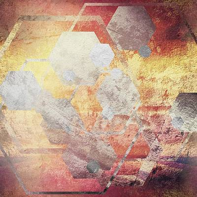 Metallic Gold And Silver Hexagons Art Print by Brandi Fitzgerald