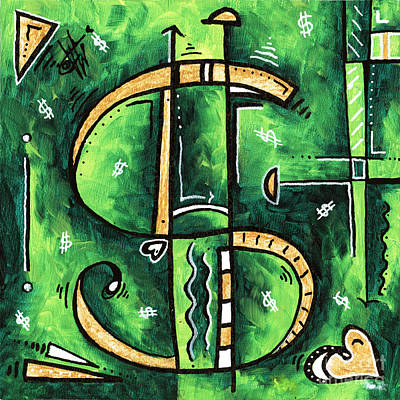 Metallic Gold Dollar Sign For The Love Of Money Mini Pop Art Painting Madart Art Print by Megan Duncanson