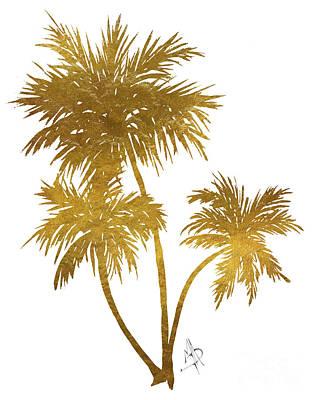 Metallic Gold Palm Trees Tropical Trendy Art Art Print