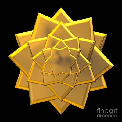 Digital Art - Metallic Golden 3-d Look Gift Bow by Rose Santuci-Sofranko