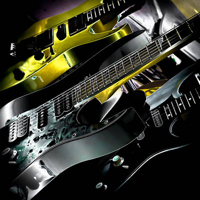 Music Digital Art - Metallic Guitars by David Patterson