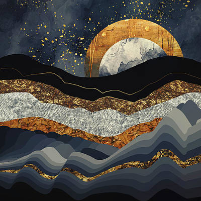 Abstract Landscape Digital Art - Metallic Mountains by Katherine Smit