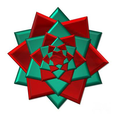 Digital Art - Metallic Red And Green 3-d Look Gift Bow by Rose Santuci-Sofranko