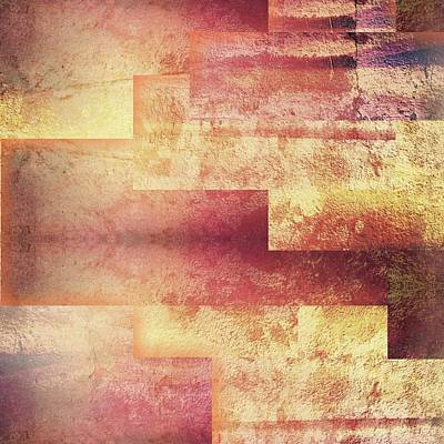 Metallic Red Gold Abstract Art Print by Brandi Fitzgerald