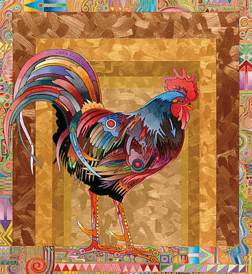Abstract Realism Painting - Metallic Rooster by Bob Coonts