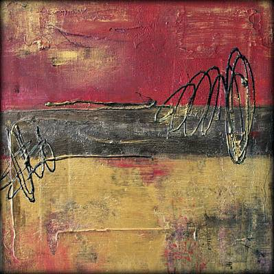 Abstract Painting - Metallic Square Series I - Red And Gold Urban Abstract Painting by Liz Moran