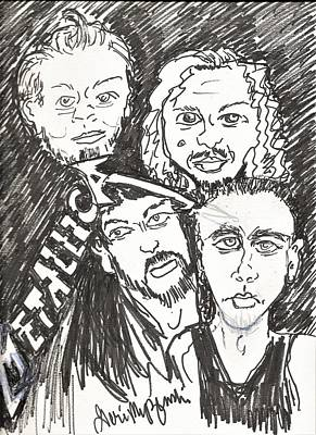 Rock And Roll Drawings - Metallica by Geraldine Myszenski