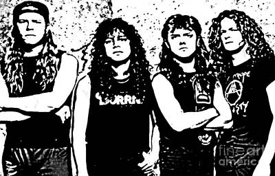 Dave Drawing - Metallica Poster In Ink by John Malone