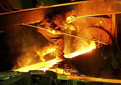 Metalworks Foundry Worker Print by Ria Novosti