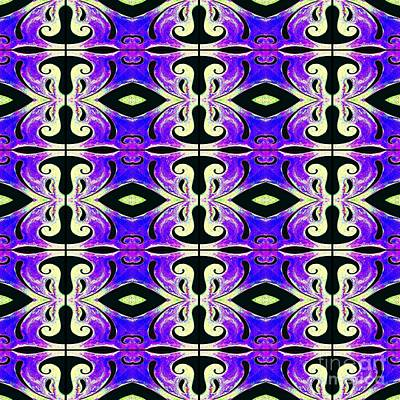 Digital Art - Metamorphosis Of The White Waves Symmetry Tile 219 by Helena Tiainen