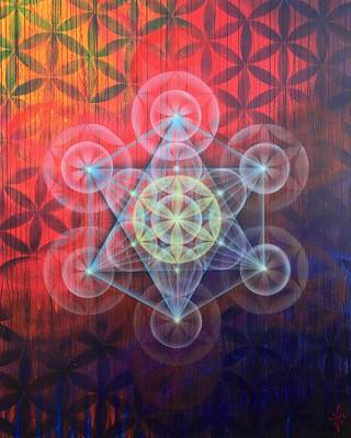 Metatron Cube Painting - Metatron's Cube by Drew Brophy
