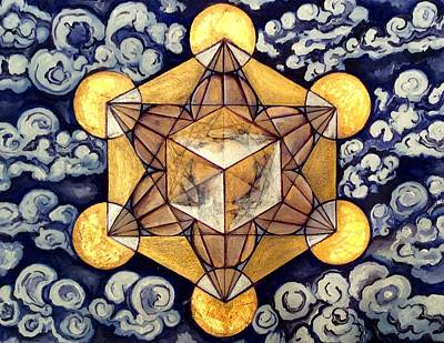 Metatron Cube Painting - Metatron's Cube In The Clouds 2 by Michell Rosenthal