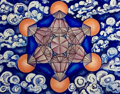 Metatron Cube Painting - Metatron's Cube In The Clouds by Michell Rosenthal