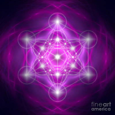 Digital Art - Metatron's Cube Purple by Alexa Szlavics