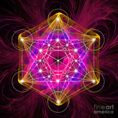Digital Art - Metatron's Cube With Flower Of Life by Alexa Szlavics