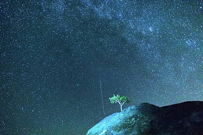 Photograph - Meteor Falling Blue Starry Night by James BO Insogna