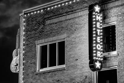 Photograph - Meteor Guitar Gallery Neon - Black And White - Downtown Bentonville Arkansas by Gregory Ballos