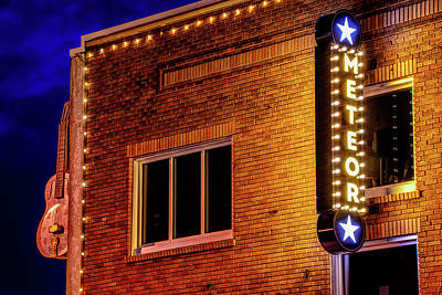 Photograph - Meteor Guitar Gallery Neon - Downtown Bentonville Arkansas by Gregory Ballos