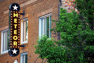 Photograph - Meteor Neon Sign - Downtown Bentonville Arkansas by Gregory Ballos