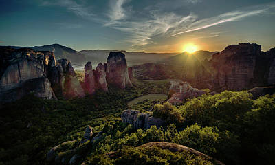 Photograph - Meteora At The Sunset by Jaroslaw Blaminsky