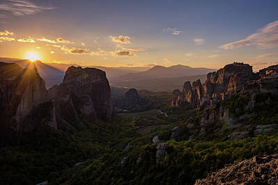 Photograph - Meteora Sunset by Nikos Stavrakas