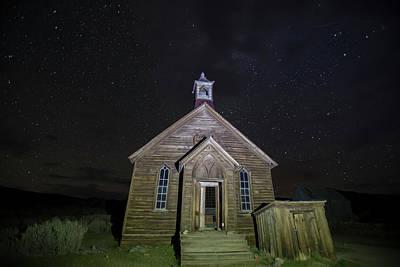 Global Design Shibori Inspired - Methodist church at night, Bodie, California by Karen Foley