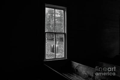 Photograph - Methodist Church Window At Cades Cove - B And W by John Greco
