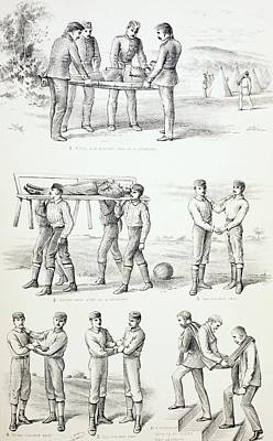 Person Drawing - Methods Of Carrying Injured Persons by Vintage Design Pics