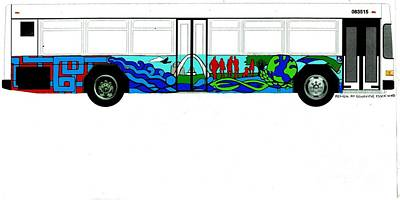 Painting - Metro Bus Curbside View Of Bus Mural  Project Clear Color Sketch by Genevieve Esson
