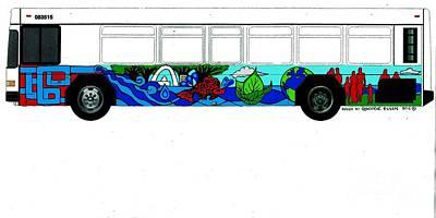 Painting - Metro Bus Streetside View Of Bus Muralr Metro Bus Color Sketch by Genevieve Esson