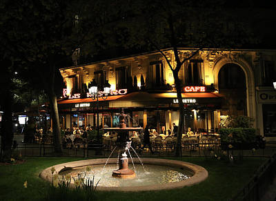 Cafes At Night Photograph - Metro Cafe Paris by Andrew Fare
