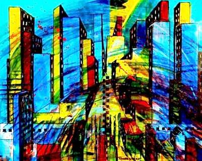 Representative Abstract Mixed Media - Metro City by David Raderstorf