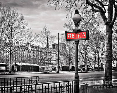 Bookshop Photograph - Metro Pont Marie 8x10 by Delphimages Photo Creations