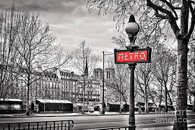 Bookshop Photograph - Metro Pont Marie by Delphimages Photo Creations