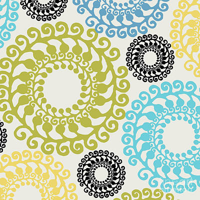 Retro Modern Painting - Metro Retro Circle Pattern II by Mindy Sommers