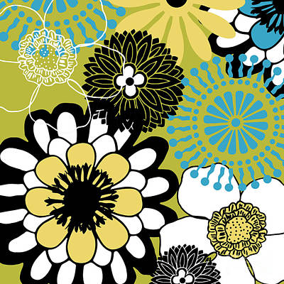 Retro Modern Painting - Metro Retro Cool Tones Floral by Mindy Sommers