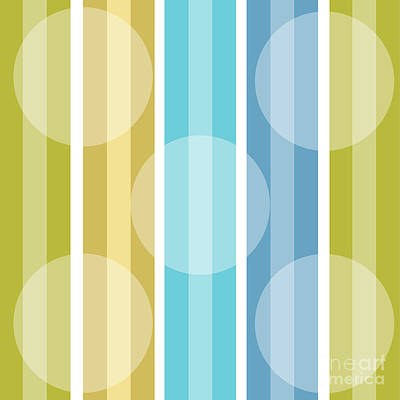 Retro Modern Painting - Metro Retro Cool Tones Stripe by Mindy Sommers