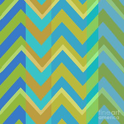 Chevron Painting - Metro Retro Zig Zag Cool Tones by Mindy Sommers