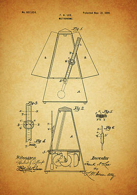 Musicians Drawings - Metronome Patent by Dan Sproul
