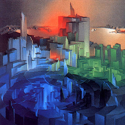 Painting - Metropolis 1975 by Glenn Bautista