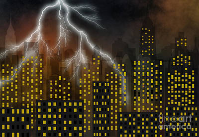 Abstract Skyline Rights Managed Images - Metropolis At A Stormy Night Royalty-Free Image by Michal Boubin