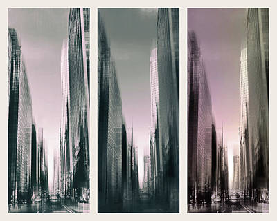 Photograph - Metropolis Rush Hour Triptych by Jessica Jenney