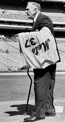 Casey Stengel Photograph - Mets Manager Casey Stengel At Shea Stadium Days After Retiring. 1965 by Anthony Calvacca