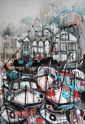 Docking Painting - Mevagissey Harbour by Irina Rumyantseva