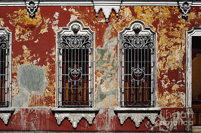 Photograph - Mexican Architecture Windows Photograph -  by Sharon Hudson