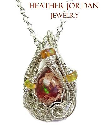 Sterling Silver Jewelry - Mexican Cantera Opal Pendant In Sterling Silver With Ethiopian Welo Opals Cmfoss2 by Heather Jordan